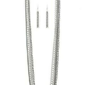 Silver tone necklace & earrings